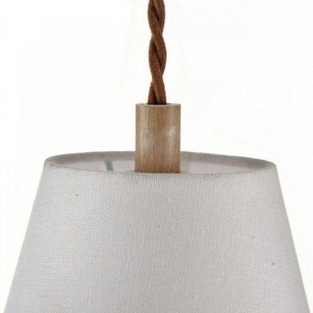 Lampa wisząca - elementy w kolorze antycznego dębu, kremowy abażur - Maytoni