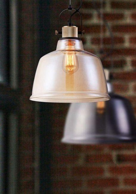 szklana lampa industrialna nowoczesna - złote szkło