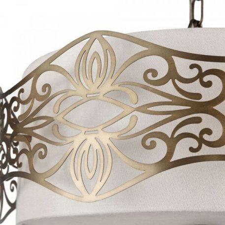 Lampa wisząca - kremowa tkanina, brązowy metal - Maytoni