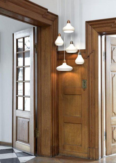 Lampa wisząca - miedź, białe szkło - Nordlux