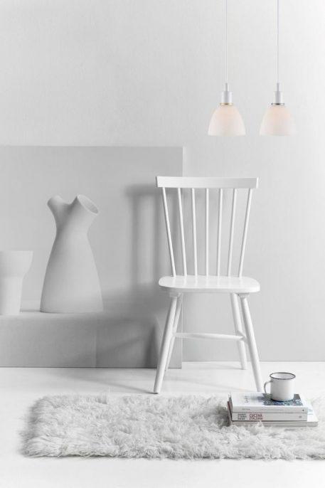 Lampa wisząca - opalizujące szkło, biały metal - Nordlux