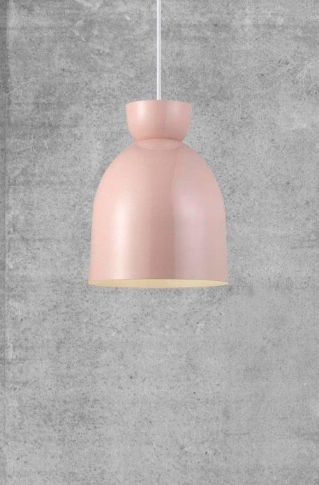 Lampa wisząca - różowy metal, biały kabel w tekstylnym oplocie - Nordlux