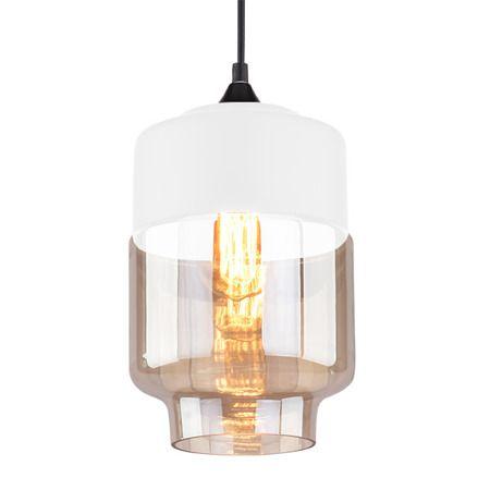 Lampa wisząca Styl skandynawski beżowy, biały, transparentny, Czarny  - Sypialnia