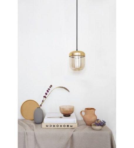 Lampa wisząca Styl skandynawski beżowy, mosiądz, złoty  - Sypialnia