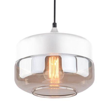 Lampa wisząca szklane beżowy, biały  - Sypialnia