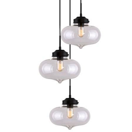 Lampa wisząca szklane transparentny, Czarny  - Kuchnia