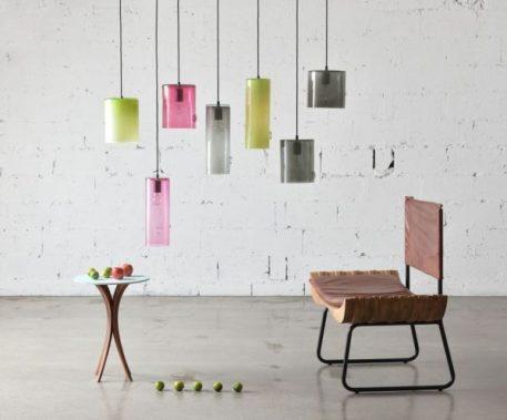 Lampa wisząca - szkło barwione na różowo - Gie El Home