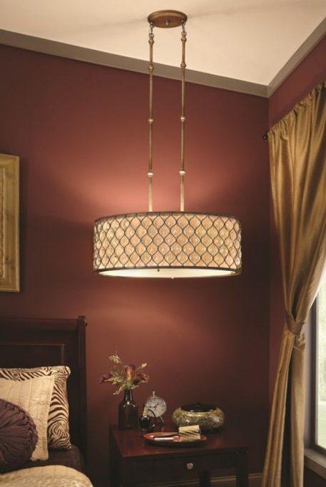 Lampa wisząca - szkło, połyskująca, srebrna oprawa - Ardant Decor