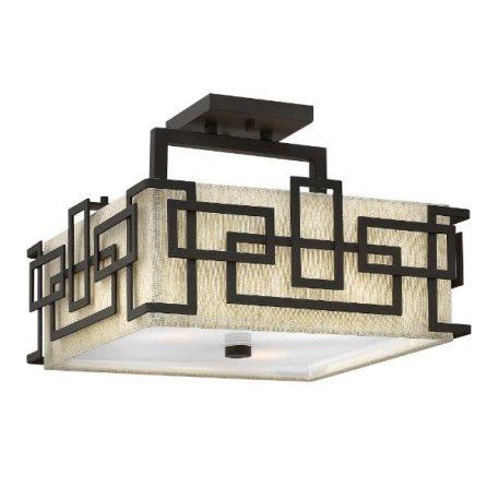 Lanza  Lampa sufitowa – Z abażurem – kolor beżowy, brązowy, mat