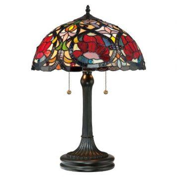 Larissa  Lampa stołowa – Witrażowe – kolor brązowy, Czerwony