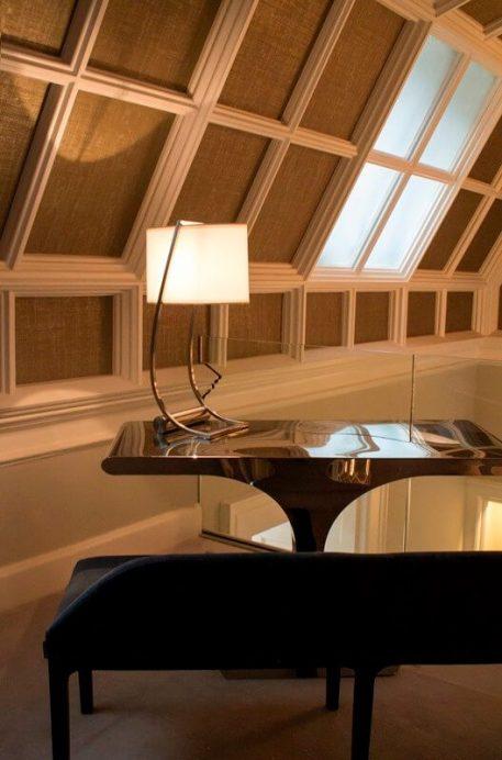 Lex Lampa nowoczesna – Z abażurem – kolor biały, mosiądz