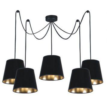 Libero  Żyrandol – Z abażurem – kolor złoty, Czarny