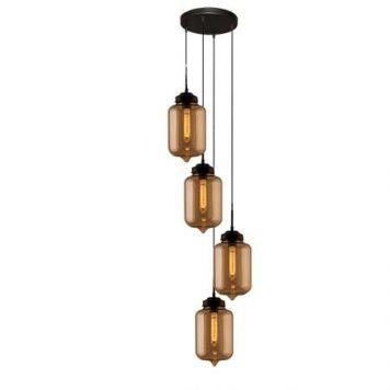 London Loft  Lampa wisząca – industrialny – kolor beżowy, Czarny