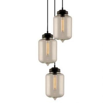 London Loft Lampa wisząca – industrialny – kolor transparentny, Czarny