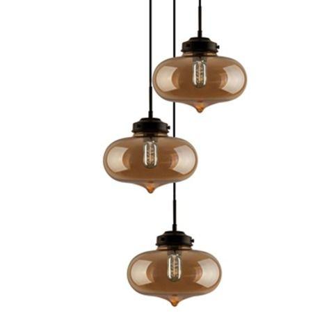 London Loft Lampa wisząca – szklane – kolor beżowy, transparentny