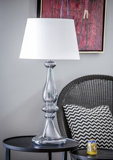 Louvre Lampa modern classic – szklane – kolor biały, transparentny, Szary