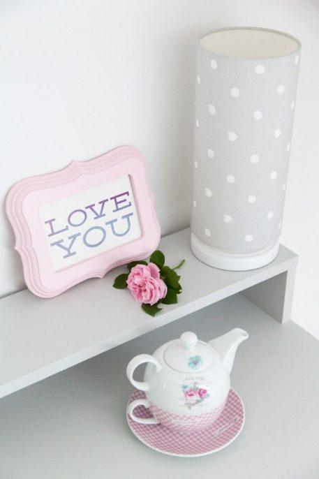 Lovely Dots Grey  Lampa stołowa – Z abażurem – kolor Szary