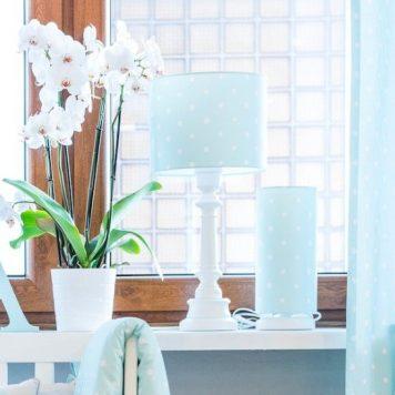 Lovely Dots Mint Lampa stołowa – Z abażurem – kolor Niebieski
