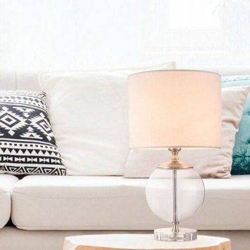 Lowell Lampa stołowa – klasyczny – kolor beżowy, transparentny