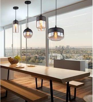 Manhatan  Lampa wisząca – Styl nowoczesny – kolor beżowy, transparentny, Czarny
