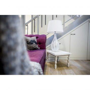 Modena White  Lampa stołowa – Styl modern classic – kolor biały, transparentny