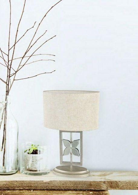 Montana  Lampa stołowa – Z abażurem – kolor biały, srebrny