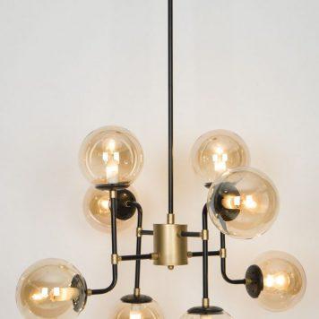 Moretti  Lampa wisząca – Styl nowoczesny – kolor beżowy, transparentny, Czarny