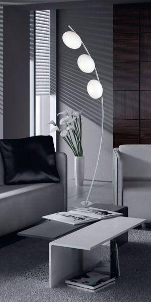 New York Lampa podłogowa – szklane – kolor biały, srebrny