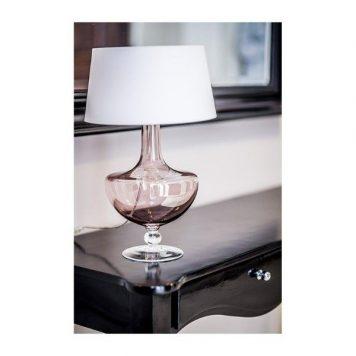Oxford  Lampa stołowa – Z abażurem – kolor biały, miedź, transparentny