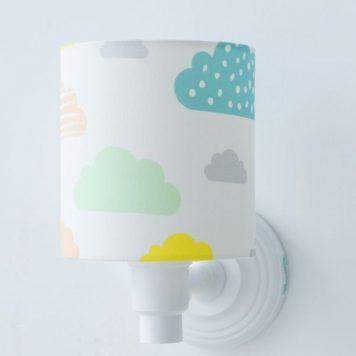 Pastelowe Chmurki Kinkiet – Z abażurem – kolor biały