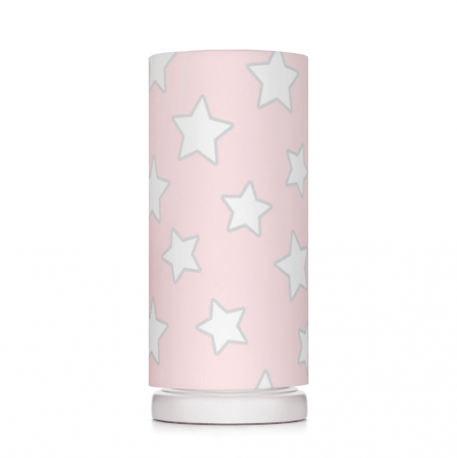 Pink Stars Lampa stołowa – Z abażurem – kolor różowy