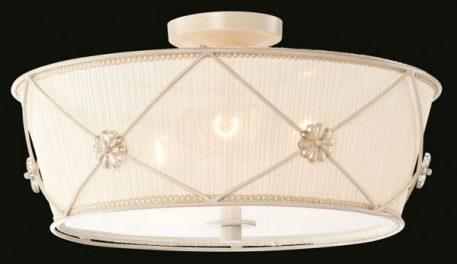 Plafon - kremowa organza, metal w kolorze perłowej bieli - Maytoni