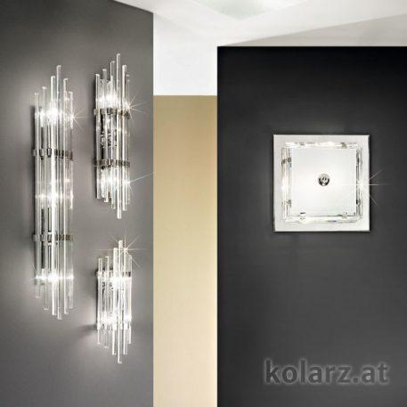 Plafon kryształowe srebrny, transparentny  - Sypialnia
