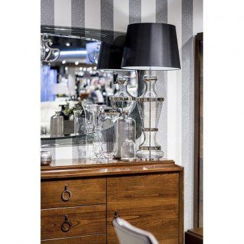 Roma Platinum Lampa modern classic – Styl glamour – kolor srebrny, transparentny, Czarny