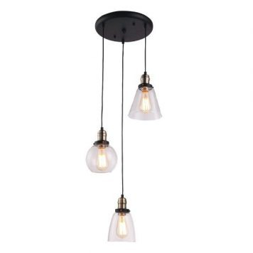 Samanta  Lampa wisząca – szklane – kolor transparentny, Czarny