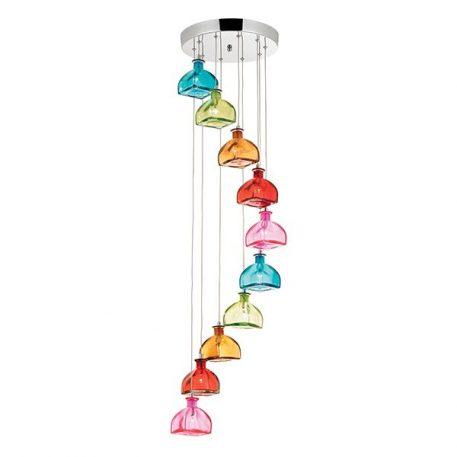 Sarandon Lampa wisząca – szklane – kolor pomarańczowy, różowy, Czerwony, Niebieski, Zielony