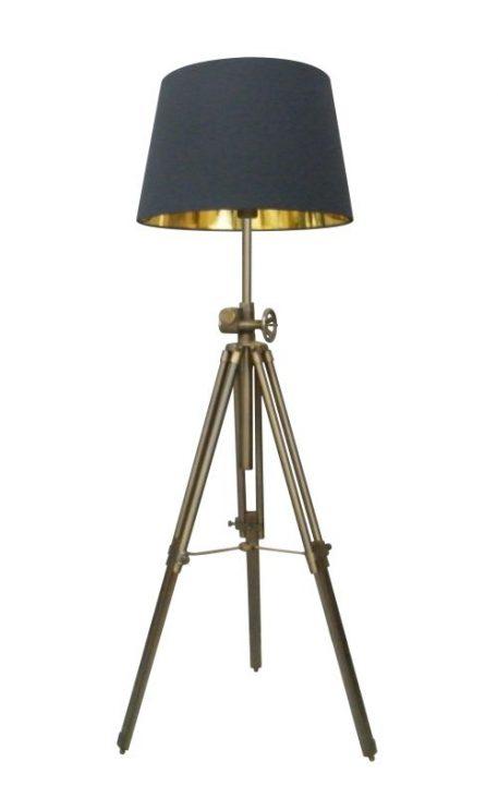 Seville Lampa podłogowa – industrialny – kolor złoty, Czarny