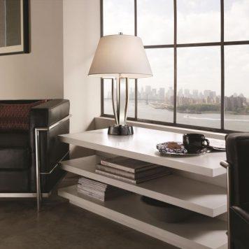 Silvershore Lampa stołowa – Z abażurem – kolor biały, srebrny