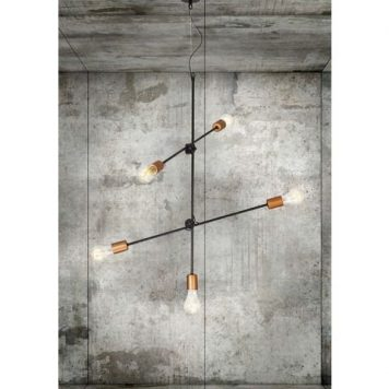 Sticks  Lampa wisząca – Styl nowoczesny – kolor miedź, Czarny