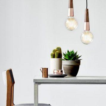 Stripped Lampa wisząca – Styl skandynawski – kolor brązowy, miedź