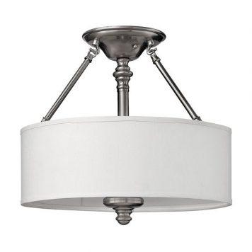Sussex Lampa sufitowa – Z abażurem – kolor biały, srebrny