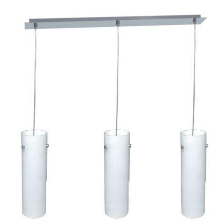 Tuba  Lampa wisząca – szklane – kolor biały, srebrny