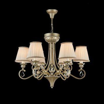 Valbonne  Żyrandol – Z abażurem – kolor biały, srebrny, złoty