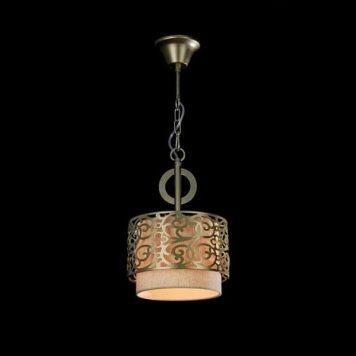 Venera Lampa wisząca – Z abażurem – kolor beżowy, mosiądz, złoty