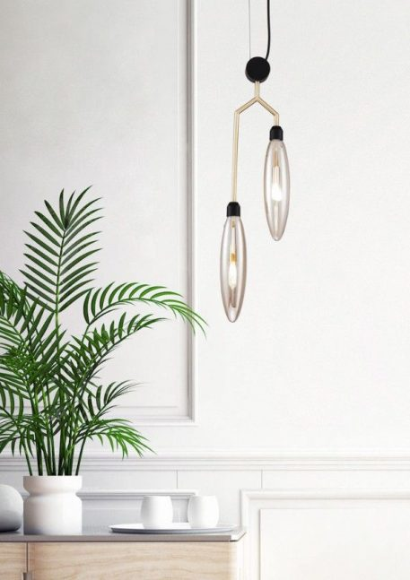 Ventura  Lampa wisząca – Styl nowoczesny – kolor beżowy, transparentny, złoty