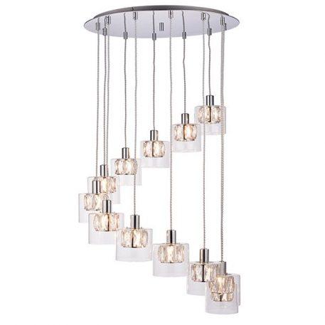 Verina  Lampa wisząca – Styl glamour – kolor srebrny, transparentny