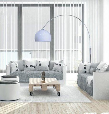 Vision  Lampa podłogowa – Styl nowoczesny – kolor biały, srebrny
