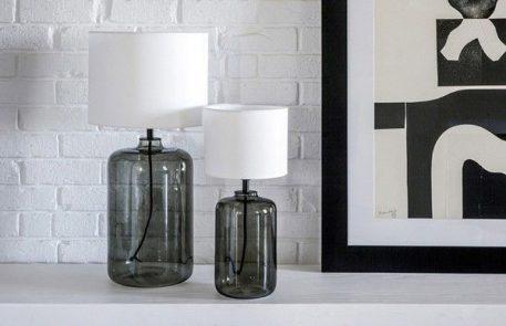 Ystad Lampa skandynawska – Z abażurem – kolor biały, transparentny, Szary
