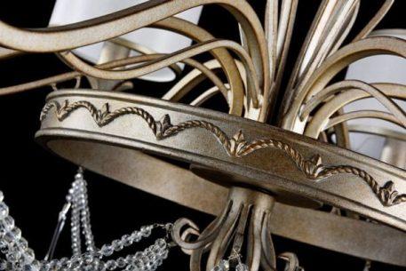 Żyrandol - biała tkanina, antyczny złoty - Maytoni