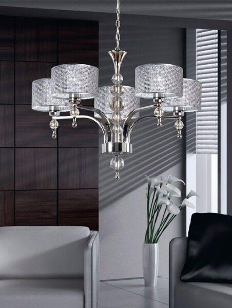 Żyrandol - srebrny metal, kryształki, szkło - Zuma Line